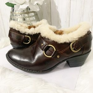 Born Leather Fur Harnessed Ankle Booties Size 7.5